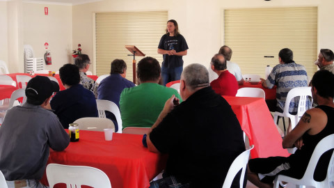Photo of Men's Breakfast with guest speaker Peter Reed.